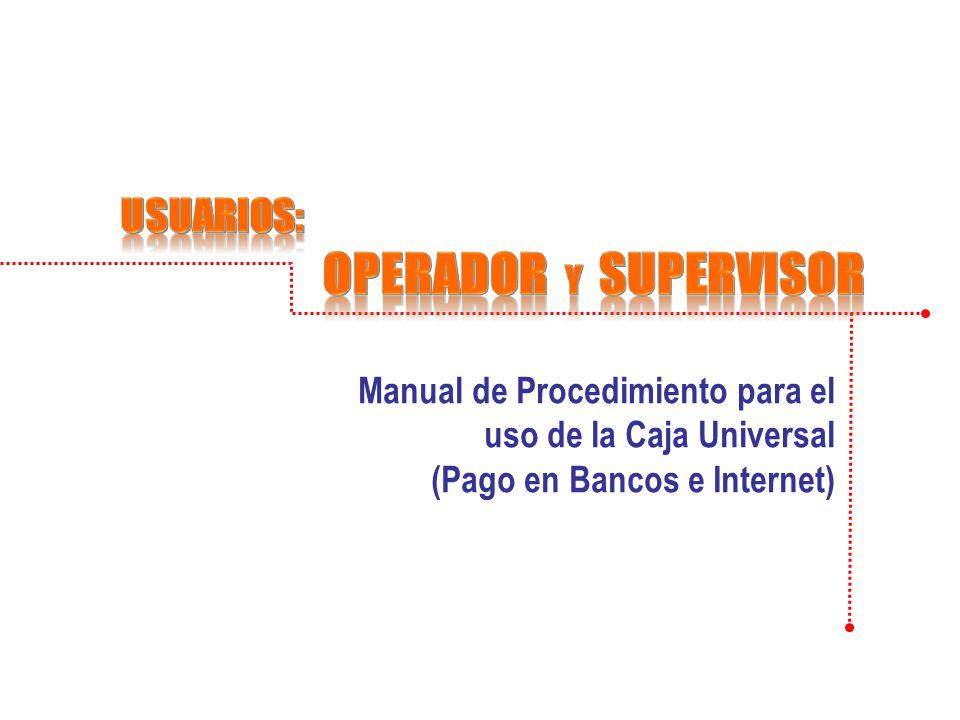 Usuarios: OPERADOR y supervisor