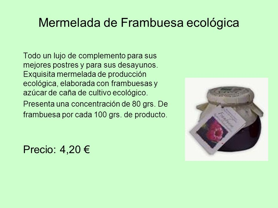 Mermelada de Frambuesa ecológica