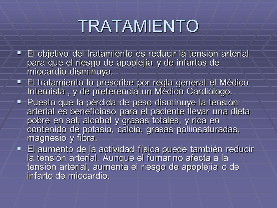 TRATAMIENTO El objetivo del tratamiento es reducir la tensión arterial para que el riesgo de apoplejía y de infartos de miocardio disminuya.