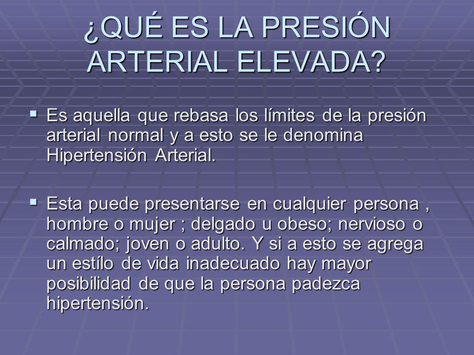 ¿QUÉ ES LA PRESIÓN ARTERIAL ELEVADA
