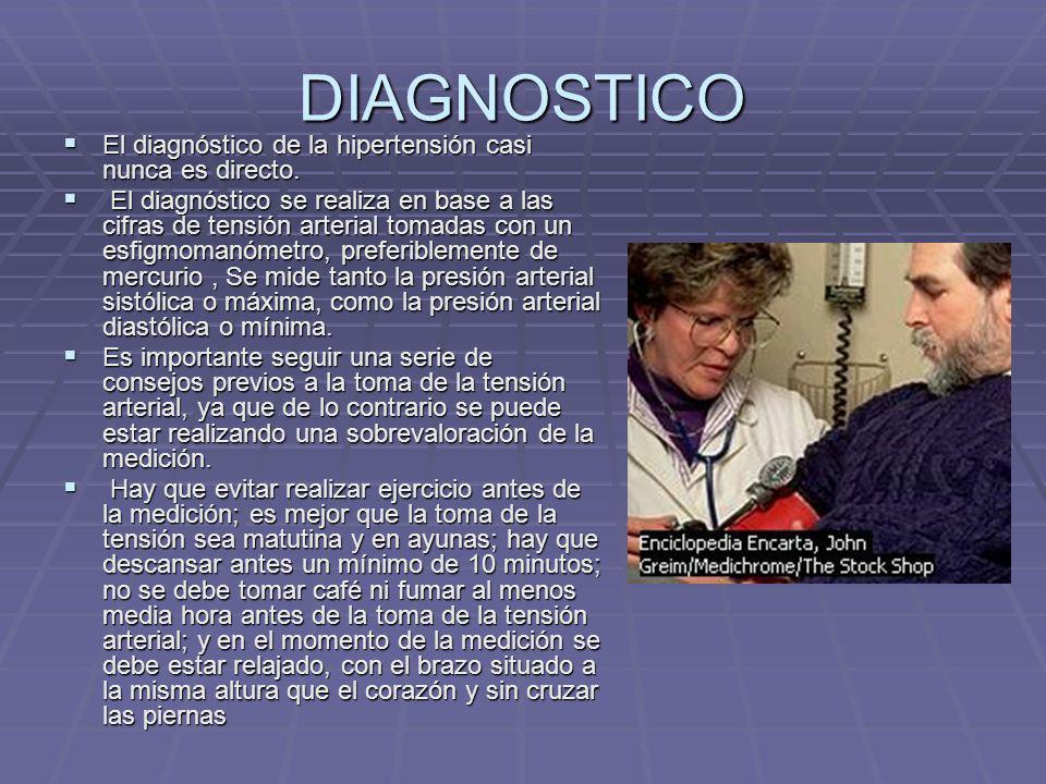 DIAGNOSTICO El diagnóstico de la hipertensión casi nunca es directo.