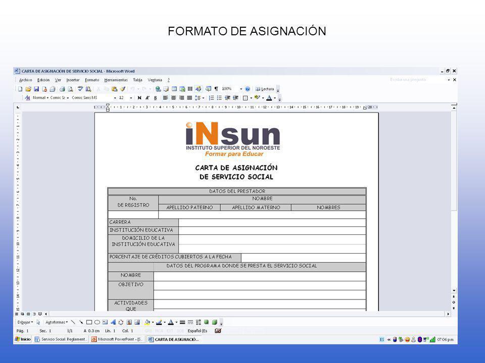 FORMATO DE ASIGNACIÓN