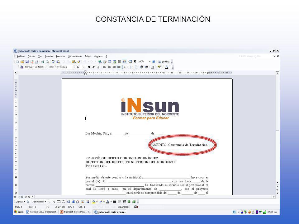 CONSTANCIA DE TERMINACIÓN