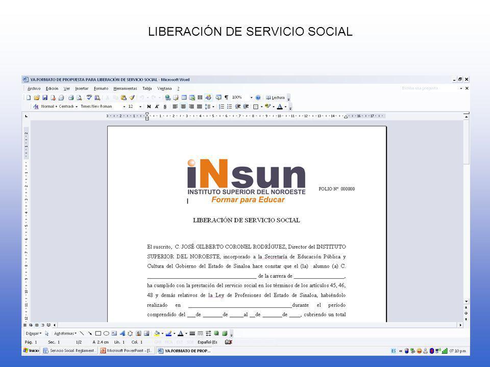 LIBERACIÓN DE SERVICIO SOCIAL