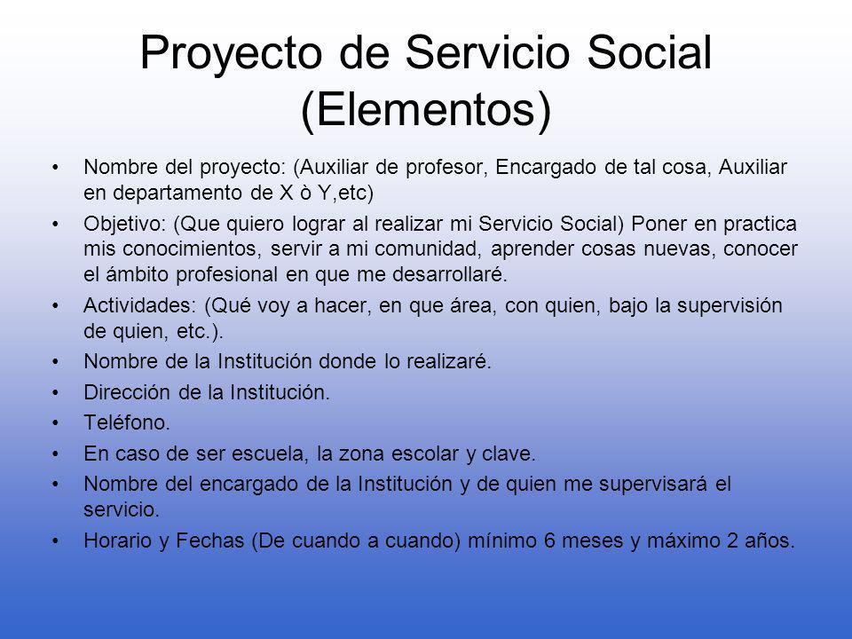 Proyecto de Servicio Social (Elementos)