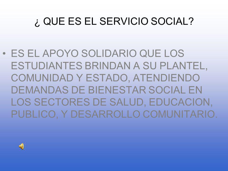 ¿ QUE ES EL SERVICIO SOCIAL