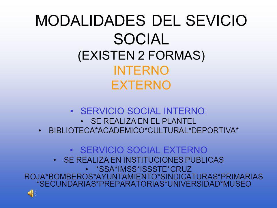 MODALIDADES DEL SEVICIO SOCIAL (EXISTEN 2 FORMAS) INTERNO EXTERNO