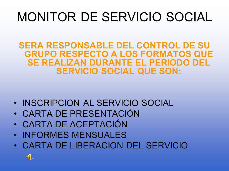 MONITOR DE SERVICIO SOCIAL