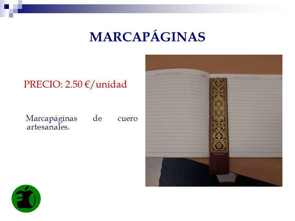 MARCAPÁGINAS PRECIO: 2.50 €/unidad Marcapáginas de cuero artesanales.