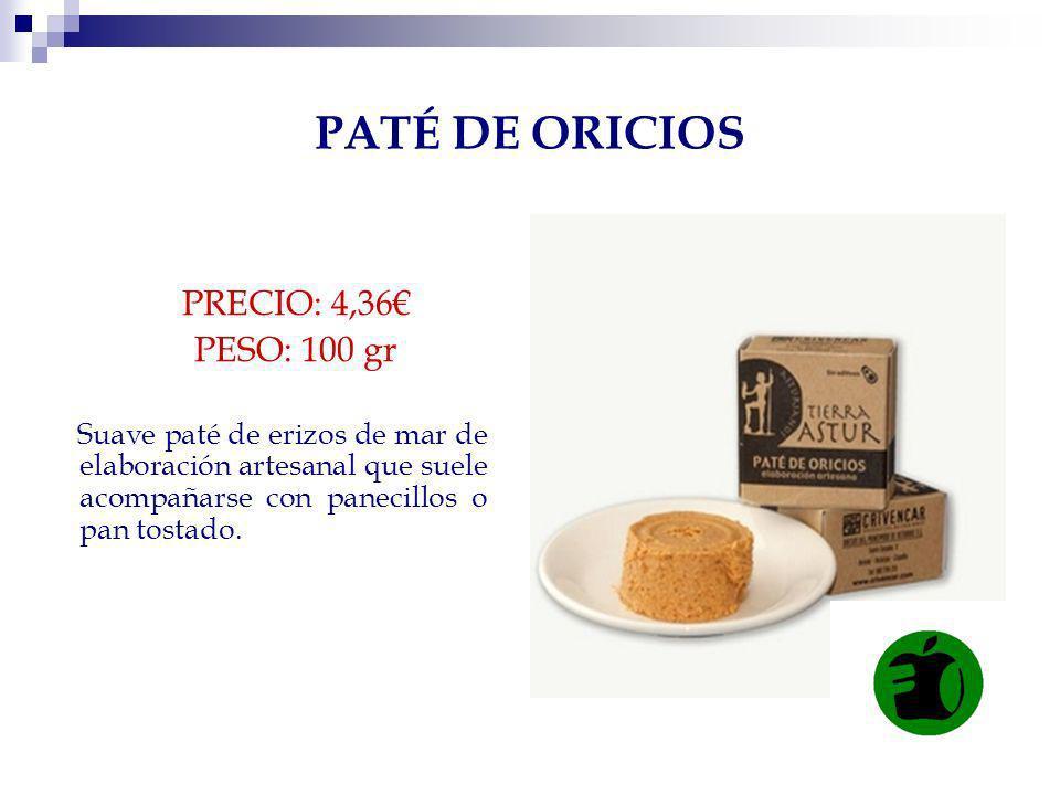 PATÉ DE ORICIOS PRECIO: 4,36€ PESO: 100 gr