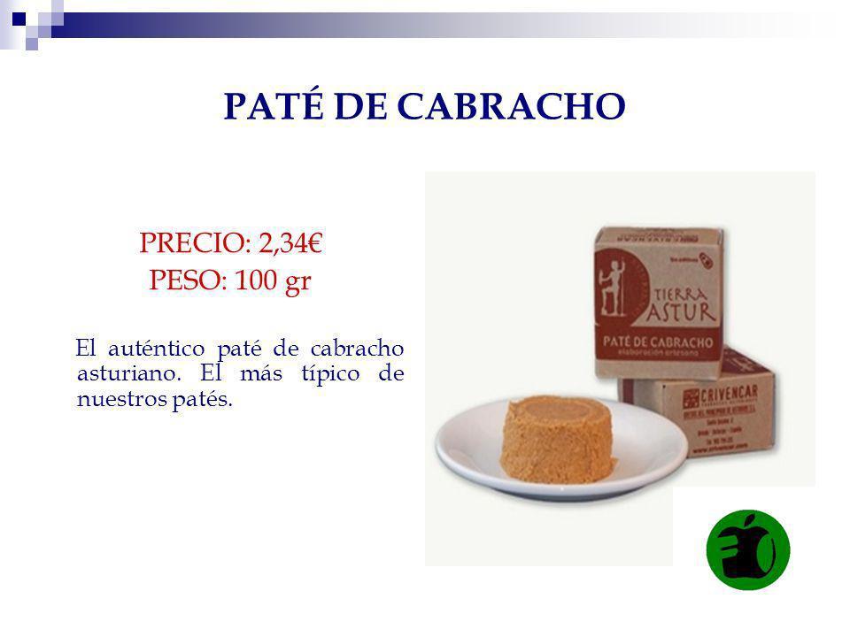 PATÉ DE CABRACHO PRECIO: 2,34€ PESO: 100 gr