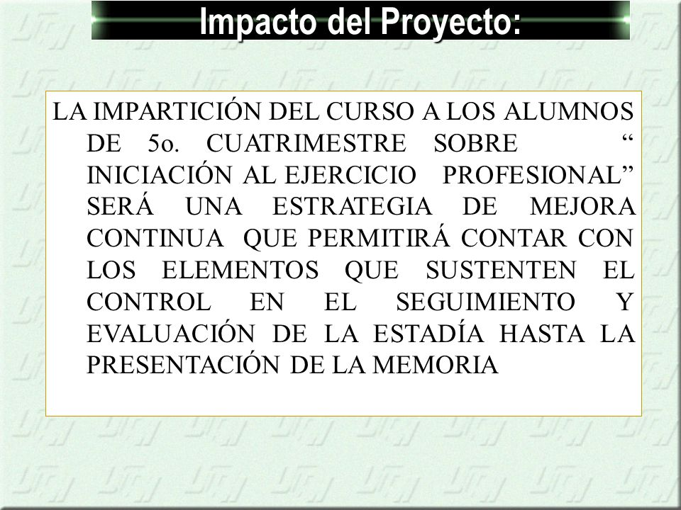 Impacto del Proyecto: