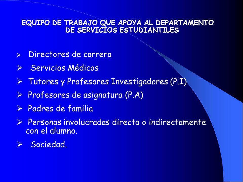EQUIPO DE TRABAJO QUE APOYA AL DEPARTAMENTO DE SERVICIOS ESTUDIANTILES