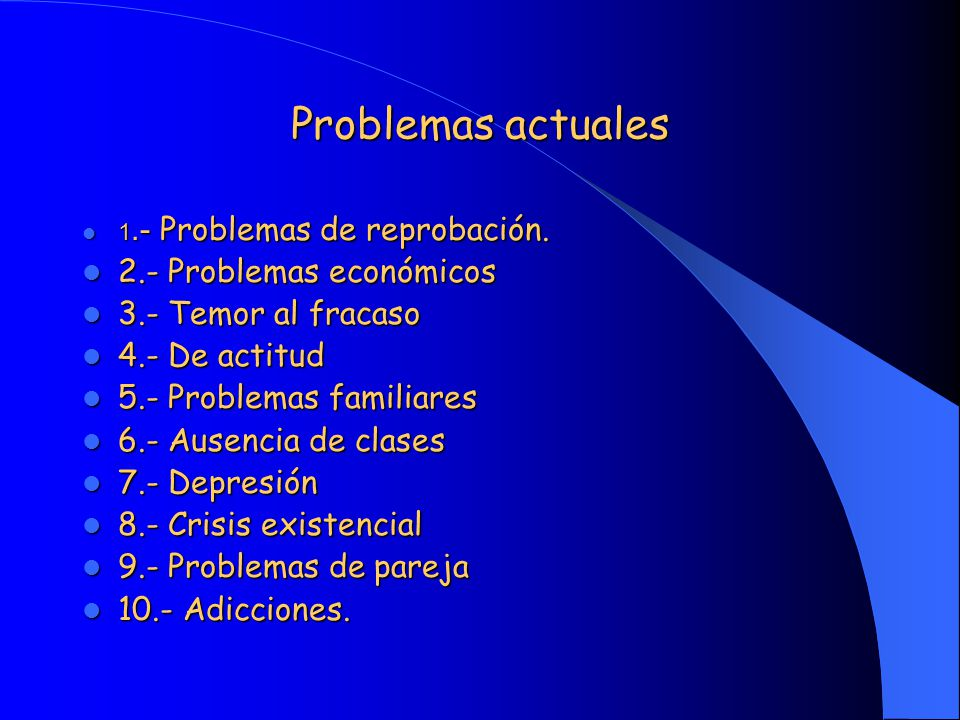 Problemas actuales 2.- Problemas económicos 3.- Temor al fracaso