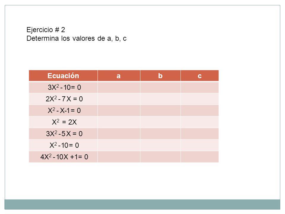 Ejercicio # 2 Determina los valores de a, b, c. Ecuación. a. b. c. 3X2 - 1 0 = 0. 2X2 - 7 X = 0.