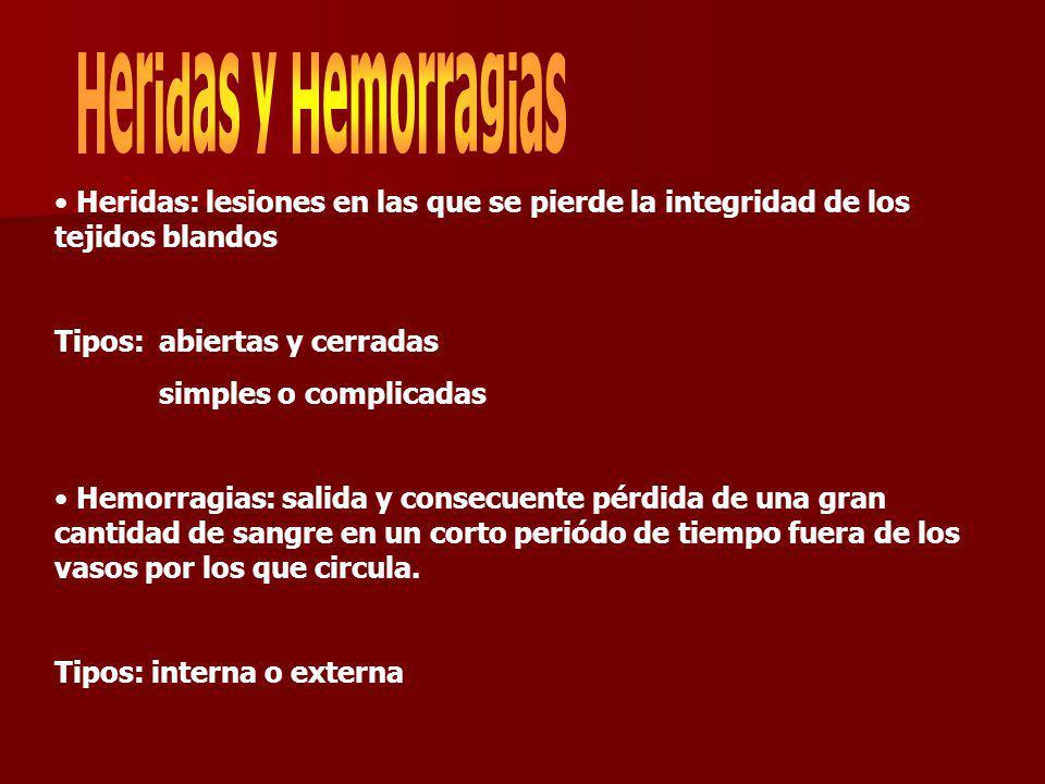 Heridas y Hemorragias Heridas: lesiones en las que se pierde la integridad de los tejidos blandos. Tipos: abiertas y cerradas.