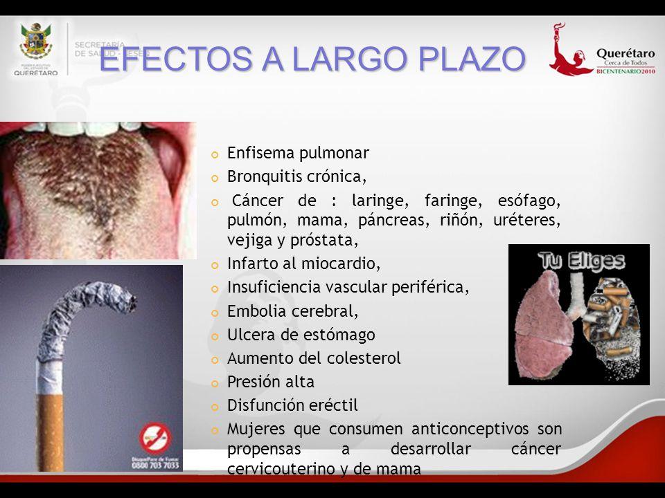 EFECTOS A LARGO PLAZO Enfisema pulmonar Bronquitis crónica,