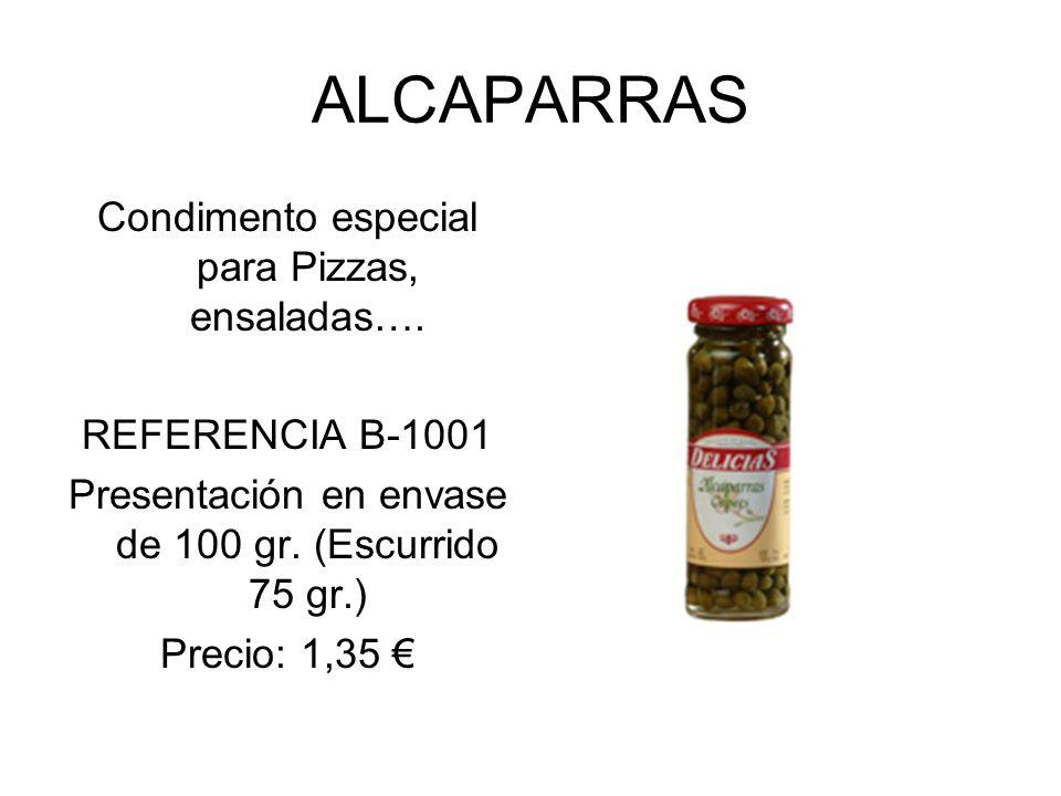 ALCAPARRAS Condimento especial para Pizzas, ensaladas….