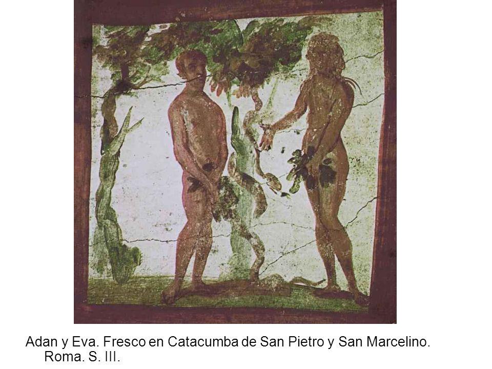 Adan y Eva. Fresco en Catacumba de San Pietro y San Marcelino. Roma. S