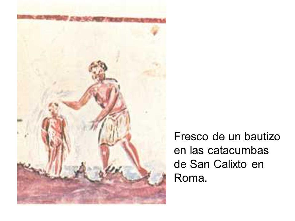 Fresco de un bautizo en las catacumbas de San Calixto en Roma.