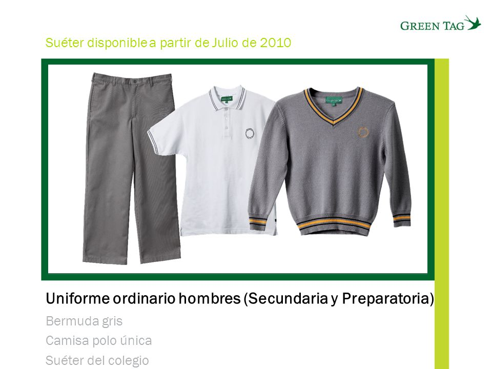 Uniforme ordinario hombres (Secundaria y Preparatoria)
