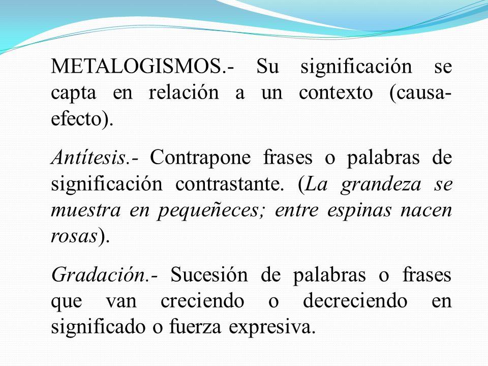 METALOGISMOS.- Su significación se capta en relación a un contexto (causa-efecto).