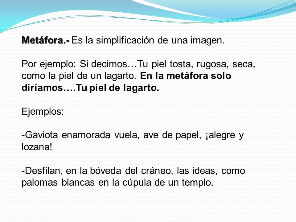 Metáfora.- Es la simplificación de una imagen.