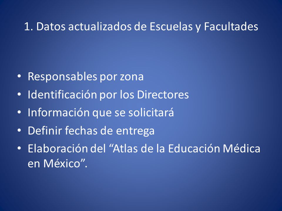 1. Datos actualizados de Escuelas y Facultades