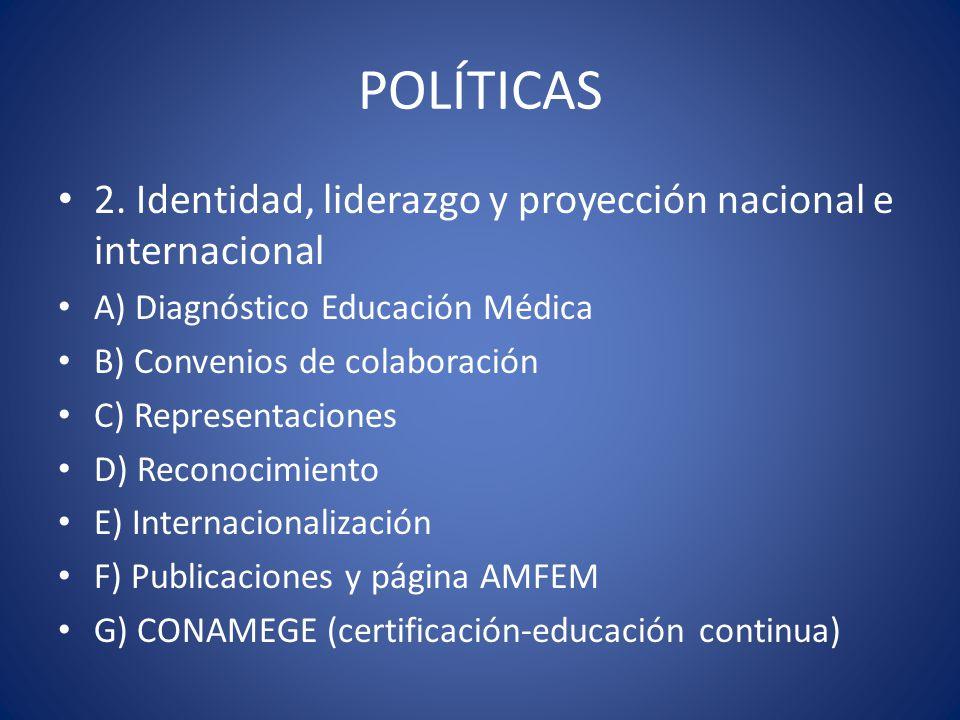 POLÍTICAS 2. Identidad, liderazgo y proyección nacional e internacional. A) Diagnóstico Educación Médica.