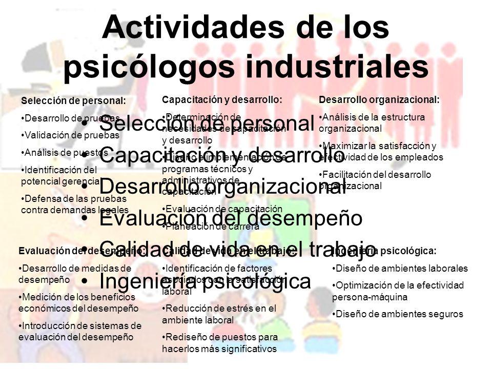 Actividades de los psicólogos industriales