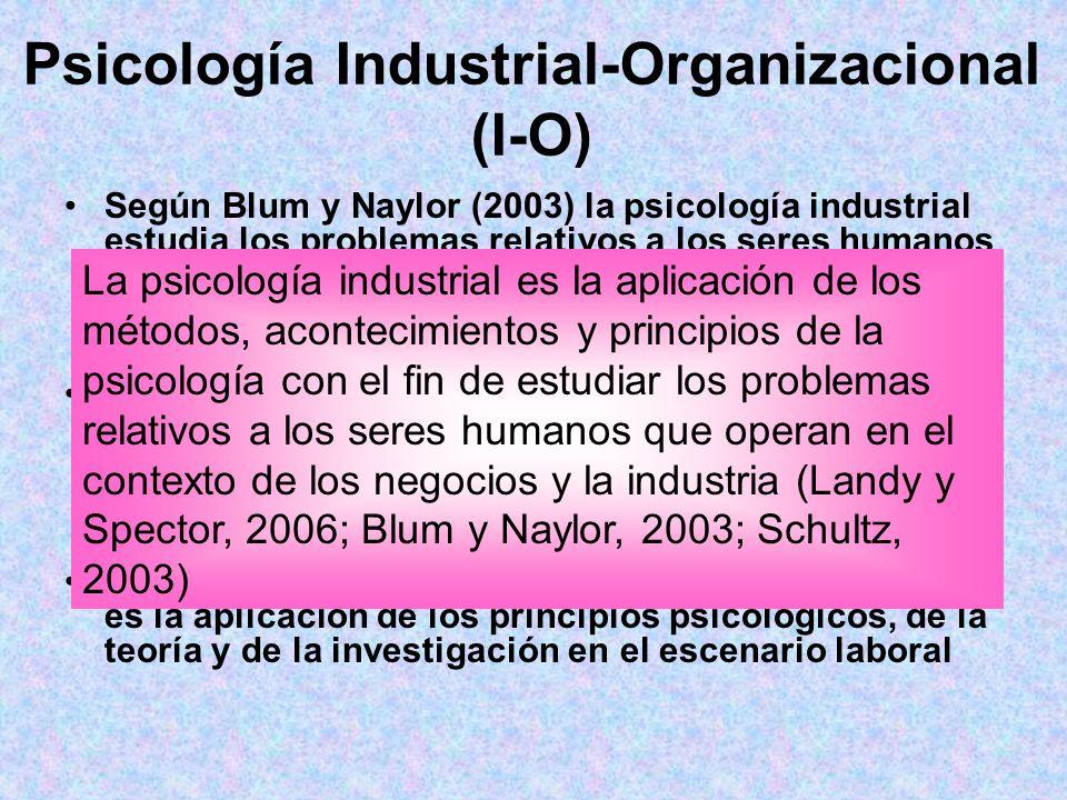 Psicología Industrial-Organizacional (I-O)