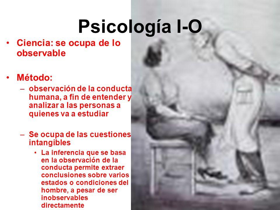 Psicología I-O Ciencia: se ocupa de lo observable Método: