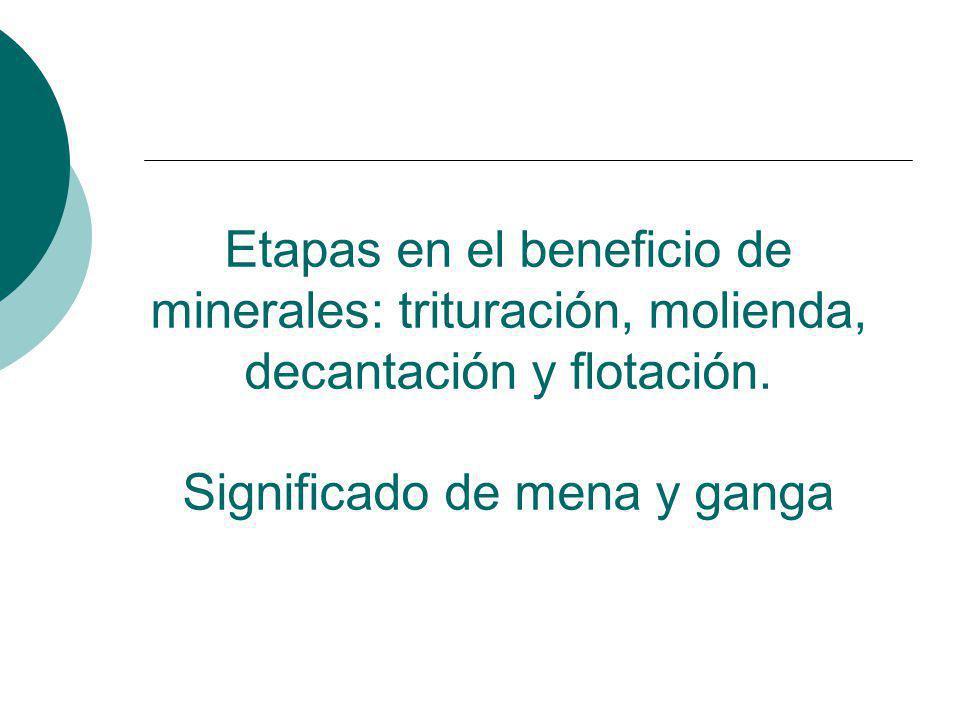Etapas en el beneficio de minerales: trituración, molienda, decantación y flotación.