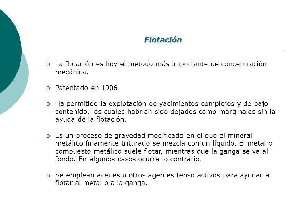 Flotación La flotación es hoy el método más importante de concentración mecánica. Patentado en 1906.