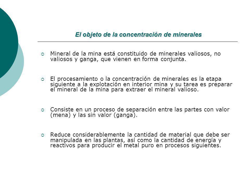 El objeto de la concentración de minerales