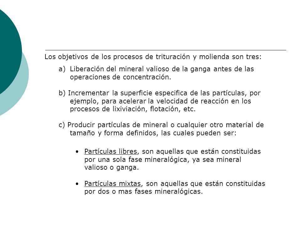 Los objetivos de los procesos de trituración y molienda son tres: