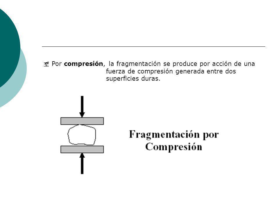  Por compresión, la fragmentación se produce por acción de una fuerza de compresión generada entre dos superficies duras.