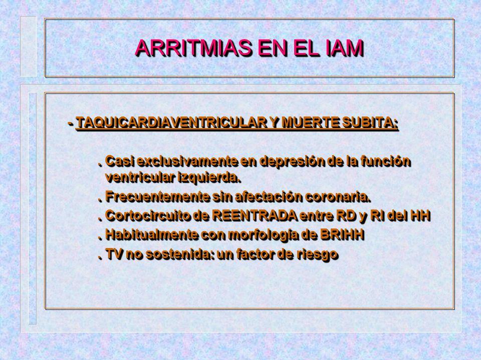 ARRITMIAS EN EL IAM - TAQUICARDIAVENTRICULAR Y MUERTE SUBITA: