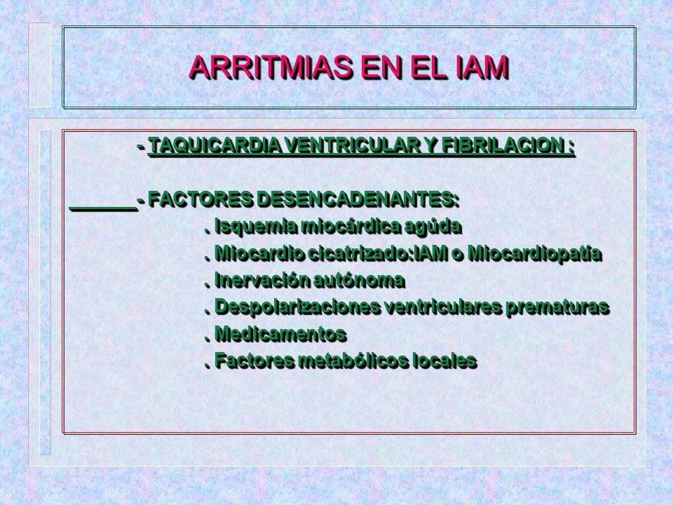 ARRITMIAS EN EL IAM - TAQUICARDIA VENTRICULAR Y FIBRILACION :