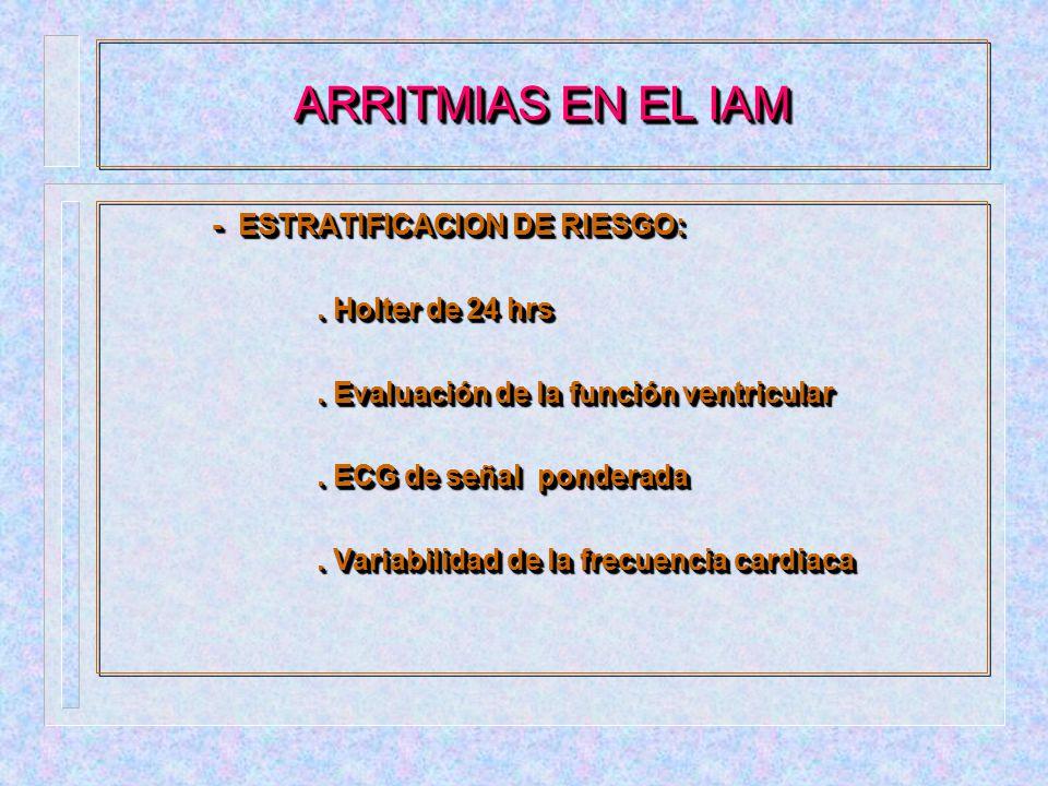 ARRITMIAS EN EL IAM - ESTRATIFICACION DE RIESGO: . Holter de 24 hrs