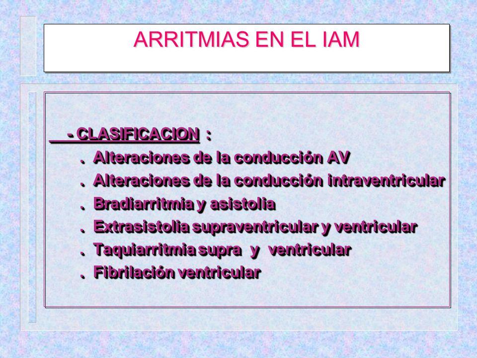 ARRITMIAS EN EL IAM - CLASIFICACION :
