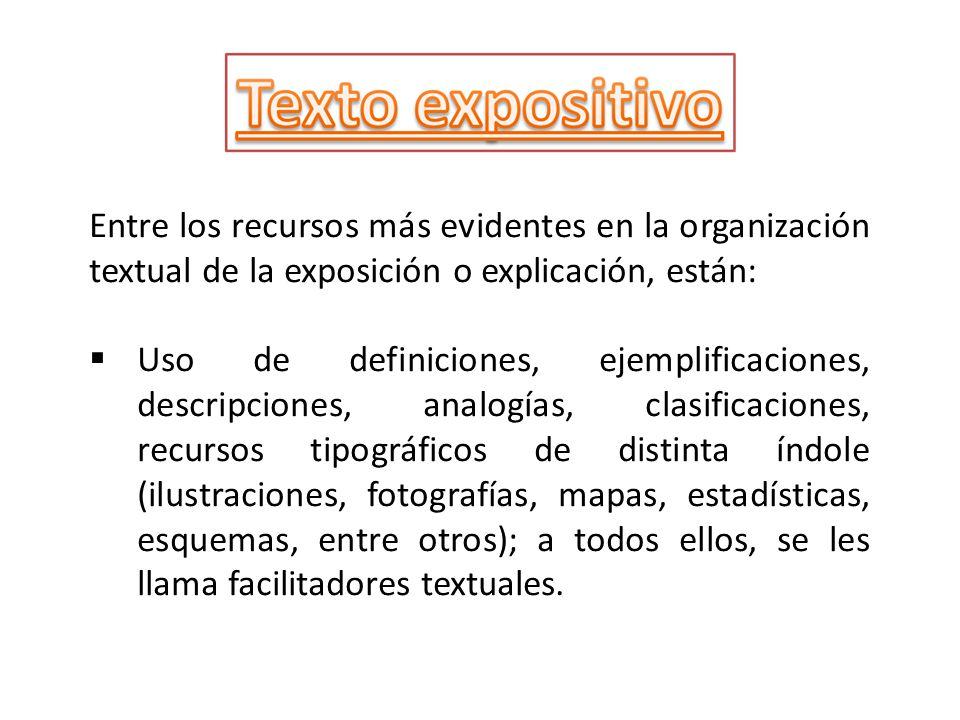Entre los recursos más evidentes en la organización textual de la exposición o explicación, están: