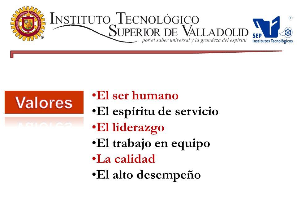 Valores El ser humano El espíritu de servicio El liderazgo