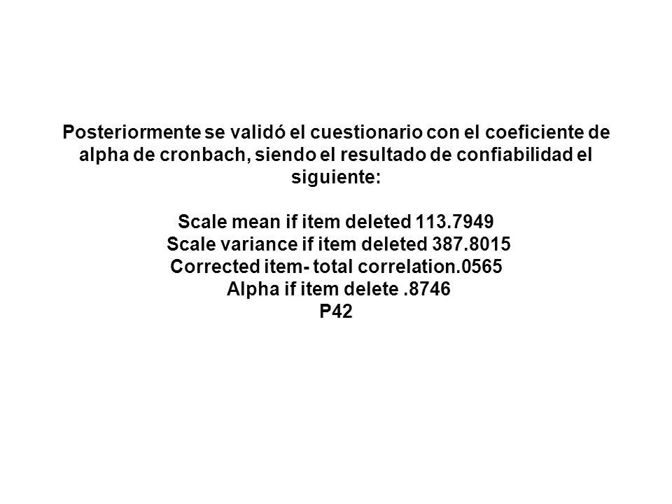 Posteriormente se validó el cuestionario con el coeficiente de alpha de cronbach, siendo el resultado de confiabilidad el siguiente: Scale mean if item deleted 113.7949 Scale variance if item deleted 387.8015 Corrected item- total correlation.0565 Alpha if item delete .8746 P42