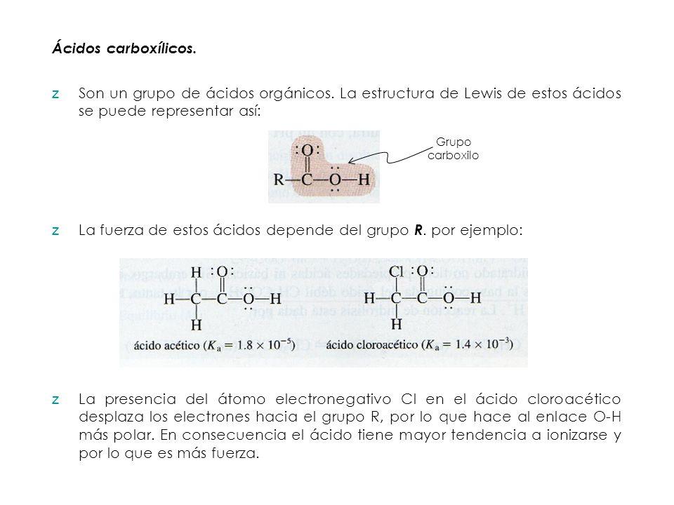 La fuerza de estos ácidos depende del grupo R. por ejemplo: