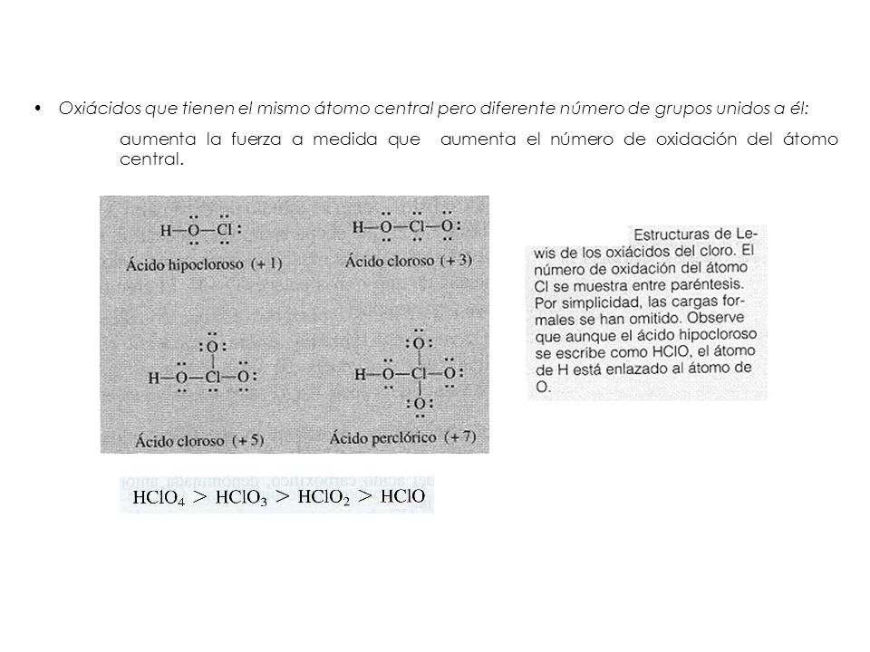 Oxiácidos que tienen el mismo átomo central pero diferente número de grupos unidos a él: