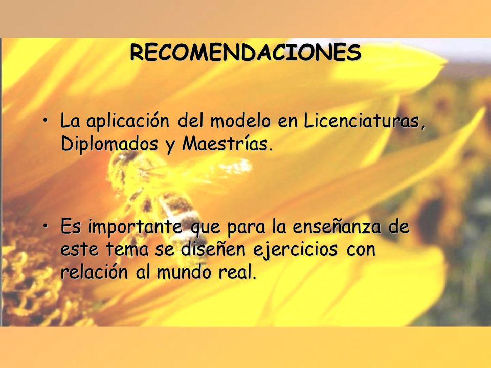 RECOMENDACIONES La aplicación del modelo en Licenciaturas, Diplomados y Maestrías.