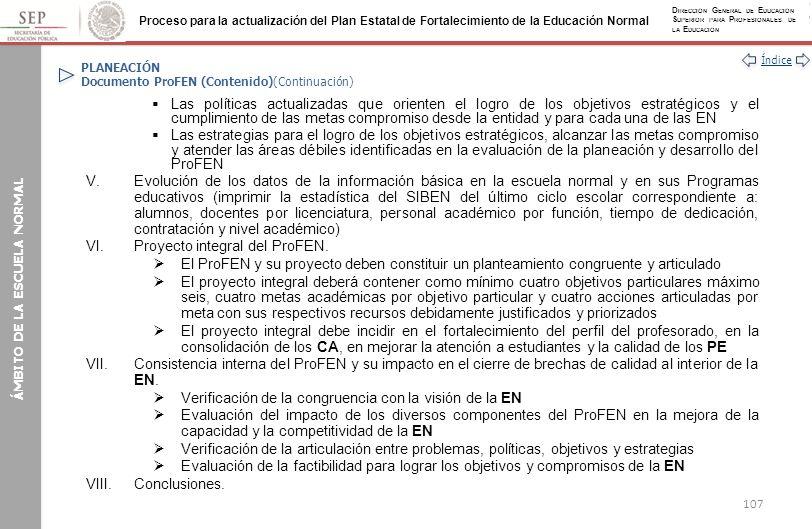 PLANEACIÓN Documento ProFEN (Contenido)(Continuación)