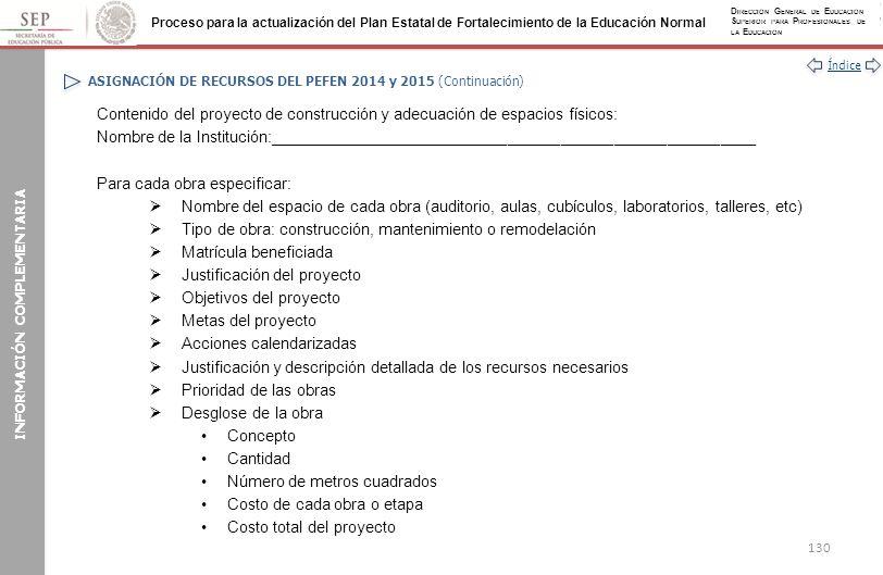 ASIGNACIÓN DE RECURSOS DEL PEFEN 2014 y 2015 (Continuación)