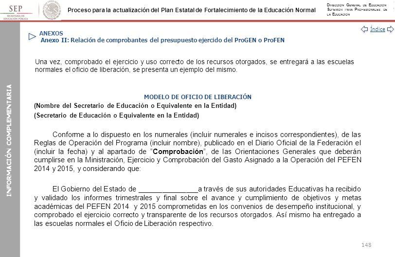 MODELO DE OFICIO DE LIBERACIÓN INFORMACIÓN COMPLEMENTARIA